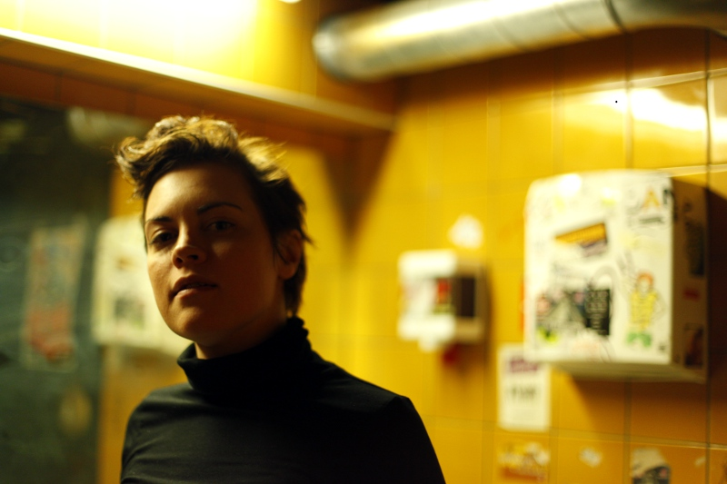 Lotta at the restroom in Pacifico, Helsinki.